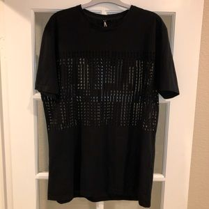 Topman AAA Black Mesh Panel T-shirt with pattern